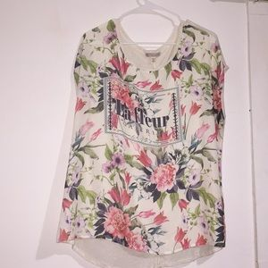 Floral front top with stretchy back